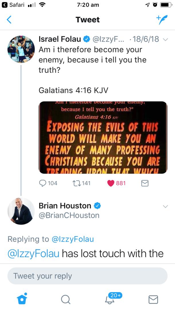 Izzy's response
